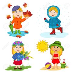 girl and the four seasons - vector illustration, eps Seasons Activities, Preschool Activities, Maternelle Grande Section, Season Calendar, Seasons Posters, Flashcards For Kids, Diy Crafts For Girls, Kids Schedule, English Activities