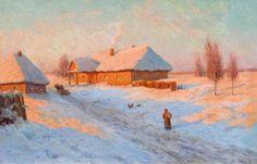 CHOULTSÉ, IVAN FEDOROVICH<br>(St. Petersburg 1874 - 1939 Nice)<br>Village in winter. 1910.<br>Oil on canvas.<br>Signed and dated lower right in Cyrillic: I. F. Choultsé 1910.<br>60 x 92 cm<br><br>Provenance: - Private collection, Switzerland. - Koller, Zurich, 24.3.2007, Lot 3105. - Swiss private collection.<br> --------------- <br>CHOULTSÉ, IVAN FEDOROVICH<br>(St. Petersburg 1874 - 1939 Nizza)<br>Dorf im Winter. 1910.<br>Öl auf Leinwand.<br>Unten rechts signiert und datiert: (kyrillisch) I…