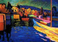 """Vasilij V. Kandinskij, """"Paesaggio autunnale con barche"""", 1908."""