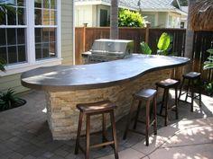 New Backyard Bbq Bar Patio Ideas Outdoor Kitchen Countertops, Outdoor Kitchen Bars, Outdoor Oven, Backyard Kitchen, Backyard Bar, Backyard Seating, Outdoor Kitchen Design, Outdoor Bars, Concrete Countertops