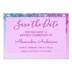 Purple Glitter Sweet 16 Save the Date Invitation #Ad , #Sponsored, #Save#Date#Sweet#Shop Save The Date Invitations, Create Your Own Invitations, Zazzle Invitations, Sweet 16 Birthday, 16th Birthday, Birthday Celebration, Purple Sparkle, Sweet Sixteen, Birthday Party Invitations