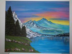 Acrylic on canvas painting - 40 cm x 50 cm Mountain Landscape, Paintings, Mountains, Canvas, Nature, Travel, Instagram, Tela, Naturaleza