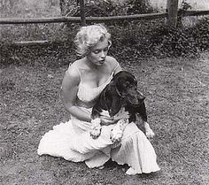 Marilyn Monroe and her basset hound, Hugo, at her home in Connecticut