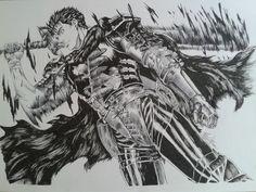 Bic black pen drawing of Guts - berserk