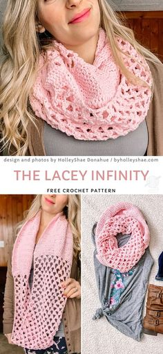 The Lacey Infinity Free Crochet Pattern The Lacey Infinity Free Crochet Pattern,Crochet knitting This lovely pink design will look great in many colors. It's very easy to make, so if you are a beginner. Gilet Crochet, Crochet Scarves, Crochet Shawl, Crochet Stitches, Knit Crochet, Crochet Granny, Crochet Infinity Scarves, Crocheted Scarves Free Patterns, Diy Crochet Scarf