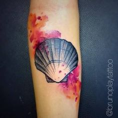 Colorful Nice Seashell Tattoo Design Made By Ink