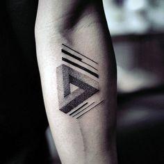Cool Interlocked Guys Triangle Tattoo On Inner Forearm