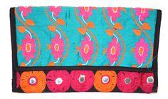 Large blue pink black clutch bag by SaheliDesigns on Etsy https://www.etsy.com/listing/251159756/large-blue-pink-black-clutch-bag