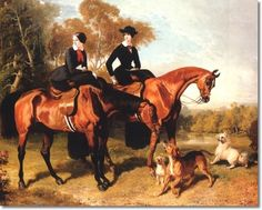 Two Ladies Posing Sidesaddle On Their Horses by Alfred De Dreux