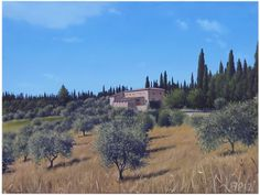 """On the old Road to Siena"" Oil Painting by Francesca Pratellesi cm 60x80"