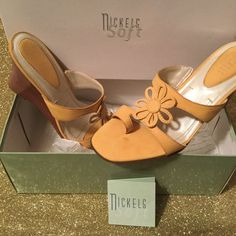 Ladies Designer Shoe Nubuck / Sunflower Design / Soft Flex Sole / Lightweight Wooden Heel / Leather Upper / Made In Brazil / New In Original Box / No Damage To Shoe or Box / Original Tissue Lining and Bag / Introduction Card Enclosed/ Superior Craftsmanship and Style Bundle Price Firm Nickles  Shoes Wedges