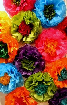 Mexican Tissue Paper Flowers Photo Wall Wedding Fiesta Decorations - Set of 20 Large Flowers Paper Flowers Wedding, Tissue Paper Flowers, Large Flowers, Colorful Flowers, Potted Flowers, Mexican Paper Flowers, Wedding Photo Walls, Tissue Paper Crafts, Paper Garlands