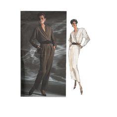 80s Anne Klein Draped Wrap Blouse & Skirt by RedcurlzsPatterns