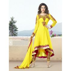Hi-low faux Georgette anarkali with embroidery