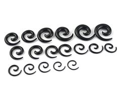 18pcs Earring Stretching Tapers Plug Stretcher Black Spiral Ear Body Jewelry Acrylic Tunnel ear Expanders tragus Piercing A1085b