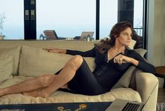 Caitlyn Jenner for Vanity Fair in a black v-neck dress