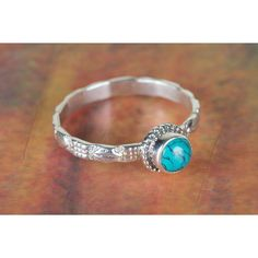 925 Silver Turquoise Gemstone Ring via Polyvore featuring jewelry, rings, green turquoise jewelry, turquoise gem ring, gem jewelry, blue turquoise ring and turquoise rings