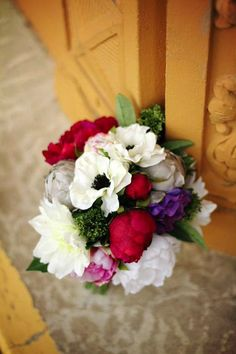 DIY Silk Flower Bouquet.  Created by an Afloral.com customer, this bouquet features our cream anemone, dahlias, and beautiful peonies in fuchsia, pink, gray and white.  Afloral.com has high-quality faux flowers for your DIY wedding.