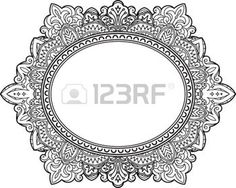 tatouage fleur: Rich decorated oval frame pattern. Vector decorative background in ethnic Indian style for coloring book, design of textile, bags, product packaging, brochures, flyers. Illustration
