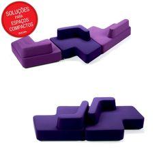 """Lembra do joguinho Tetris? Pois esse sofá é bem parecido com o game. As """"peças"""" podem se encaixar em diversas posições e deixam a sala do seu jeito."""