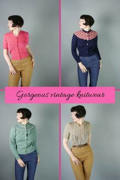 Gorgeous shop full of vintage clothing. Feast your eyes andmaybe treat yourself. #vintageknitwear #vintageclothing #1940s #ad #1950s #shopthislook #want