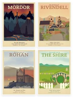 Fans of The Lord of the Rings and The Hobbit are going to love these retro travel prints by Teacup Piranha on Etsy! Each print advertises a different destination–Mordor, Rivendell, Rohan, and The Shire–featured in the films. Your home/hobbit hole will look splendid with one of these featured on the wall, and you don't need to sneak past Sauron to get one!