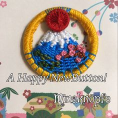A Happy New year! 〜Sunrise at Mt. Fuji and pine and plum trees. Knapper, Dorset Buttons, Passementerie, Mirror Work, Brooches, Loom, Macrame, Knots, Tassels