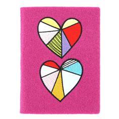 patchwork heart felt A6 journal