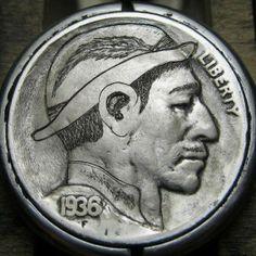 CHRISTOPHER STINNETT HOBO NICKEL - HAT AND FEATHER - 1936 BUFFALO PROFILE Hobo Nickel, Buffalo, Coins, Feather, Profile, Hat, Artist, User Profile, Chip Hat