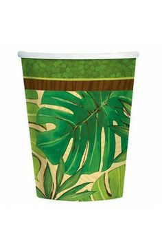Pack of 8 Island Palms Paper Cups - Luau Tropical Party  Decoration Ideas