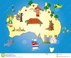 Illustration about Illustration of australia map cartoon. Illustration of exploration, adelaide, dunes - 14676742 Moving To Australia, Australia Map, Montessori Activities, Activities For Kids, Les Continents, Australian Animals, Ms Gs, Treasure Island, Educational Videos