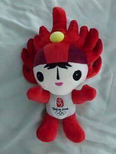 """Beijing 2008 Olympic Mascot plush doll HUAN HUAN HUANHUAN 13"""" Red Fire Games"""