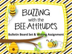 """Bee-Attitudes Bulletin Board Set & Writing Assignment Includes: """"Buzzing around with Bee-attitudes"""" Sign Bee cut outs Letters to spell """"Bzzzzzzzzz!"""" Cute Ideas: Print, laminate and hang Bees around the sign Would be cute on a door or even down the hallway Make 3D by giving bees """"Pipe-cleaner"""" Antennas Leadership Bulletin Boards, Church Bulletin Boards, Ss Lesson, Cut Out Letters, Writing Assignments, Meet The Teacher, Bible Lessons, Kids Prints, Cut Outs"""