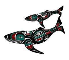 In honor of his mom Scott's painting of a mother whale with son. Northwest Coast Indian Art - Scott Copeland