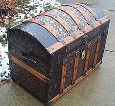 Side - All Metal Black and Gold Pressed Tin Filigree Design Dometop Fully Restored Antique Trunk For Sale #342