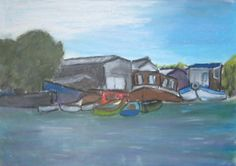 The Old Boat Yard. Another oil pastel of a scene on the River Thames
