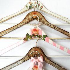 Handmade customised hangers by OldCraftStories on Etsy