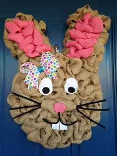 Easter Bunny Burlap Wreath/ Can choose to have the face or no face on Etsy, $55.00