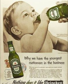 Creepy adverts - Beer company Heineken using children for advertising campaign. Looks so weird now and so wrong baby drinking beer. Check what it says Would you give your child Heineken to drink ? Funny Vintage Ads, Weird Vintage, Funny Ads, Vintage Humor, Vintage Posters, Vintage Photos, Vintage Stuff, Old Advertisements, Retro Advertising