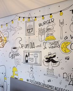 Doodle Wall, Doodle Art Drawing, Wall Drawing, Wall Art Designs, Paint Designs, Wall Design, Wall Paint Inspiration, Travel Wall Decor, Diy Wall Painting