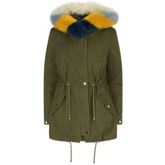 Maje Fox Fur Hooded Parka (14 675 UAH) ❤ liked on Polyvore featuring outerwear, coats, green parka, maje, green coat, maje parka and fur-lined coats