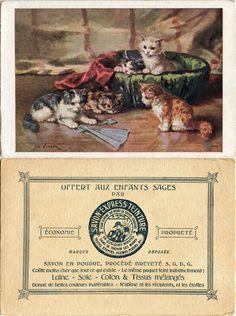 Image - Offert aux Enfants Sages par Savon Express-Teinture - Peinture d'August Laux : chatons jouant avec un éventail (from http://souvenirsdecole.com/picture?/42) semble une œuvre d'August Laux (1847-1921) né en Allemagne, a vécu à Brooklyn NY, USA, mais la signature diffère