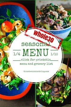 Not sure what to eat during a Whole30? We did the menu planning for you, including a printable grocery list. Paleo, gluten free.