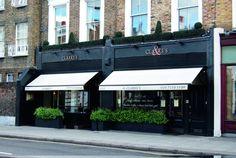 Clarke's Kensington Church Street Cafe Shop Design, Restaurant Interior Design, Shop Front Design, Store Design, Small Restaurant Design, Retail Facade, Shop Fronts, London Restaurants, Facade Design
