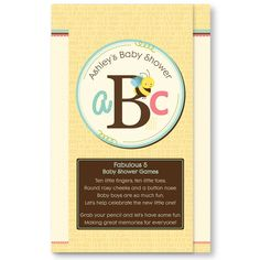 Fabulous 5 - A is for Alphabet Personalized Baby Shower Games $0.89