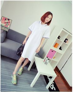 Women Dip Hem Short Sleeves Polo Shirt Dress