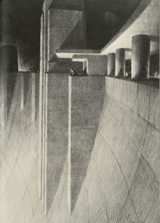 Beyond Architectural Illustration: Inspiration - Hugh Ferriss Architecture Blueprints, Architecture Drawings, Architecture Design, Art Deco Home, Ink Illustrations, Fantasy Landscape, Beautiful Drawings, City Art, Psychedelic Art