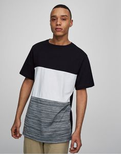 Textured bands t-shirt - T-shirts - Clothing - Man - PULL&BEAR United Kingdom