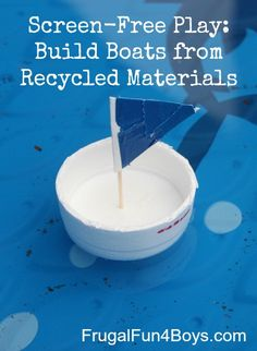 For a class of preschoolers boats may be too advanced, but I love the idea of asking the children to bring recyclable materials to play with in the water table. This explores the importance of recycling because of the other things recycled materials can be used for!