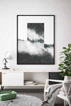 Printable Forest Print, Geometric Landscape Print, Fog Forest Print, Modern Forest Printable, Wilderness Printable, Geometric Landscape Art